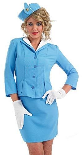 Fancy Me Damen Sexy Rot oder blau Luft Stewardess Karren Dolley Hostess Stewardess Uniform Junggesellinnenabschied Kostüm Kleid Outfit UK 8-26 Übergröße - Blau, UK 12-14