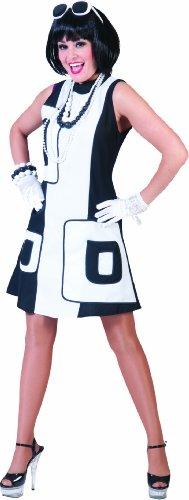 Retro Girl 60er Jahre Kostüm Damen Gr. 36 (White Kleid Kostüm Hippie)