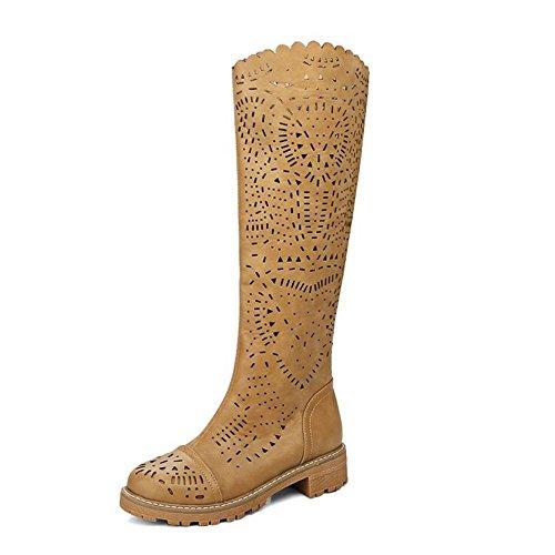 Sapatos Baixos Moda Coolcept Sapatos Senhoras Evento De Verão Longo Ofício Steifel Recortes Florais Respirável Amarelo