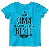 Mikalino Baby/Kinder T-Shirt mit Spruch für Jungen Mädchen Unisex Kurzarm Meine Oma ist einfach die Beste | handbedruckt in Deutschland | Handmade with Love, Farbe:Atoll, Grösse:92/98