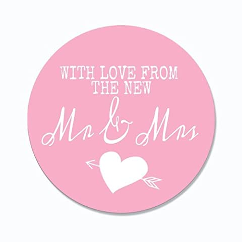 Pretty Wedding 45mm Circular Favour Stickers - -Pink Love Hearts by Purple Scrunch