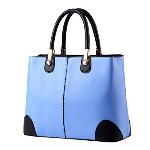 Longra Borsa a tracolla per borsa a tracolla con impugnatura morbida a mano in pelle sintetica Azzurro