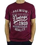 1939 Vintage Year - Aged To Perfection - Regalo di Compleanno Per 80 Anni Maglietta da Uomo Bordeaux L