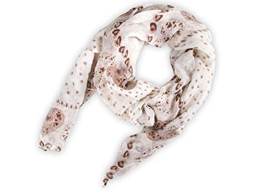 Sciarpa circolare, foulard da donna leggero e morbido estate primavera autunno inverno anello ragazze colorati stola accessorio moderno lifestyle , SCH-667.671:SCH-671c cuori marrone