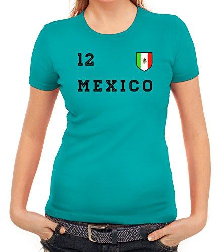 Mexico Fußball WM Fanfest Gruppen Damen Frauen T-Shirt Rundhals Trikot Mexiko, Größe: XL,Karibikblau