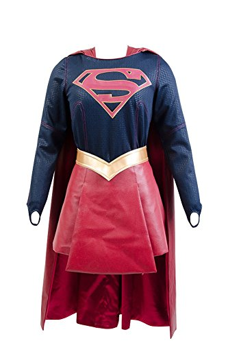 Supergirl Kostüm Damen Kara Zor-El Danvers Kostüm + Cape Umhang Cosplay M (Halloween Girls Costume Golden)