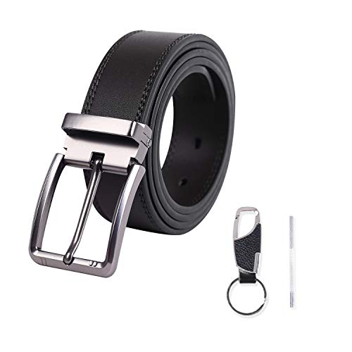 Meiruier Cinturón Cuero Hombre, Cinturón Para Hombres, Cinturones Piel con Hebilla Automática - Traje Para Ropa Formal/Jeans,Sencillo y Clásico Perfecto Regalo (Negro # 3)
