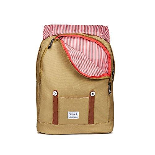 """Rucksack Damen Herren Vintage KAUKKO Reiserucksack Studenten Rucksack Laptop Rucksack für 14"""" Notebook Lässiger Daypacks Schultaschen of 2 Side Pockets für Wandern Reisen Camping (7BLACK) 1khaki19"""