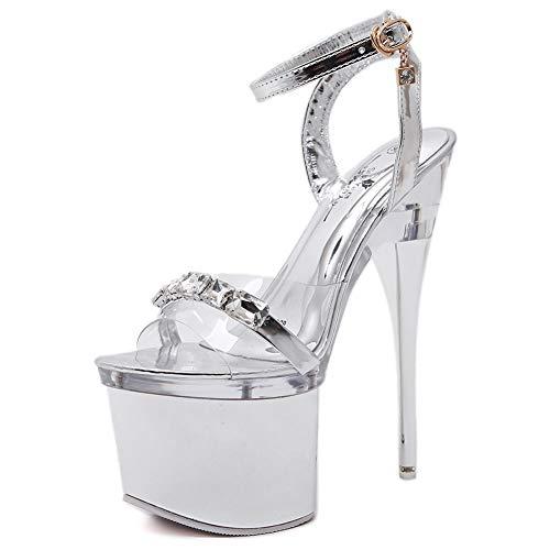 MAOMEI High Heels, Sexy Super High Heels in Übergröße Silber Stiletto, Cross Straps Damen Sandalen, Nachtclubs, Prom Schuhe 18cm EU41 Strap Wedge Flip Flops