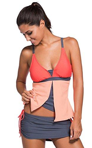 Nicetage donna moda due pezzi costumi da bagno costume tankini top arruffato swim gonna (orange.xxl)