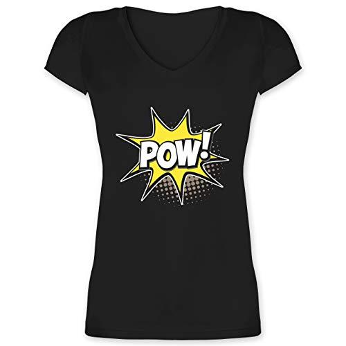 (Karneval & Fasching - Popart Karneval Kostüm POW! - XS - Schwarz - XO1525 - Damen T-Shirt mit V-Ausschnitt)