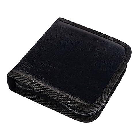 Alcyonée 40pcs CD VCD DVD Disques Faux cuir support Housse portefeuille Organiseur Sac de rangement