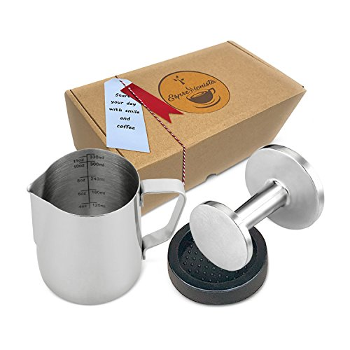 Espressionista Tamper Set - Edelstahl Tamper beidseitig 51mm & 58mm mit Matte + Edelstahl Milchkännchen 350ml - Siebträger Zubehör Geschenk Set thumbnail