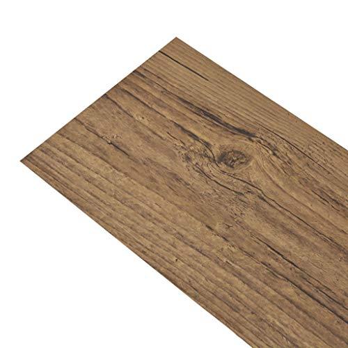 mewmewcat PVC Laminat Dielen Selbstklebend PVC-Bodenbelag 5,02 m² rutschfest Fußbodenbelag für Bad Küche Flur oder Wohnzimmer 36 STK. -