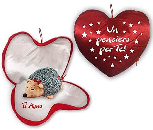 Cuore diam.25 cm con scritta un pensiero per te con riccio sorpresa all'interno + cinque cuori al cioccolato lindt.idea regalo san valentino amore