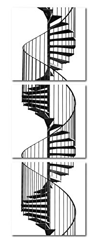 Haus und Deko Wandbild 3er Set Wendeltreppe Fotodruck Architektur Treppe sw 3 Bilder Holzfaserplatte je 30x30 cm Einfache Montage