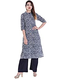 Palakh Women's Cotton Blue&White Straight Printed Kurti With Solid Blue Palazzo