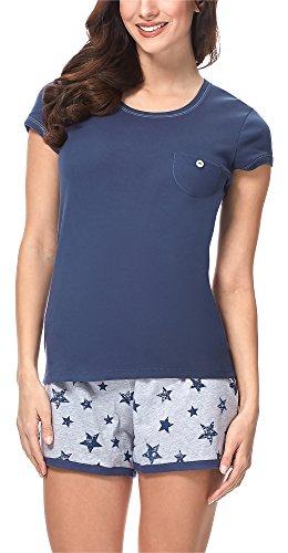 Italian Fashion IF Damen Schlafanzug 7492T1 M004 (Dunkelblau, XXL) (Sommer-pyjama Blaue)