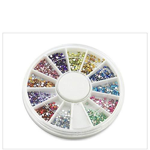Nageldesign Strasssteine, 12 Farben 3D Nagel Kunst Glitter Strass, Nagel Kristalle Runde Perlen Flache Rückseite Edelsteine, Nagel Dekoration für Nägel, Handytaschen und Make-up