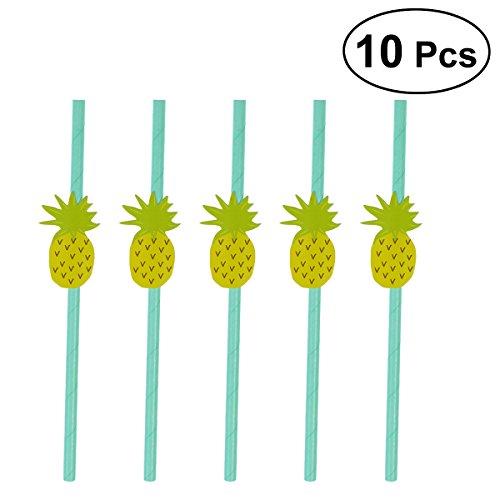 BESTOYARD Einweg Ananas Papier Stroh Dekorative Trinkhalme Luau Party Tisch BBQ Dekor für Hochzeit Geburtstag Hawaiian Thema Dekorationen, Pack von 10 (Grün)