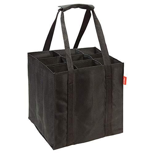 achilles 9er Bottle-Bag, Flaschentasche für 9 x 1,5 Liter Flaschen, Tragetasche mit Trennwände, 27x27x27cm, schwarz -