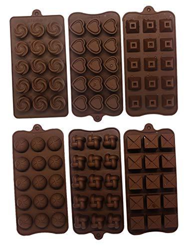Haloong 6 TLG. Backform Pralinenformen Set Silikon Herzform Blumenförmig Silikonbackform für Muffin Pralinen Schokoladenform 21,6 x 10,4 cm, von - 40u00b0 C bis + 230u00b0 C Temperaturbeständig Ice Behälter