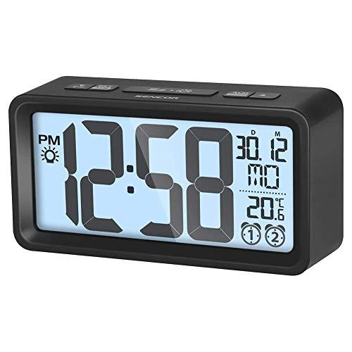 SENCOR SDC 2800 B Wecker mit Thermometer, Digitale Uhrzeit, Schwarz