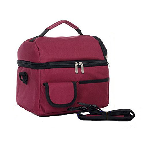 Meijunter Women Men Bambini Lunch Picnic Carry Tote Conservazione Borsa Lunch Box Portable Impermeabile HandBorsa Insulated/Refrigeratore Wine Red