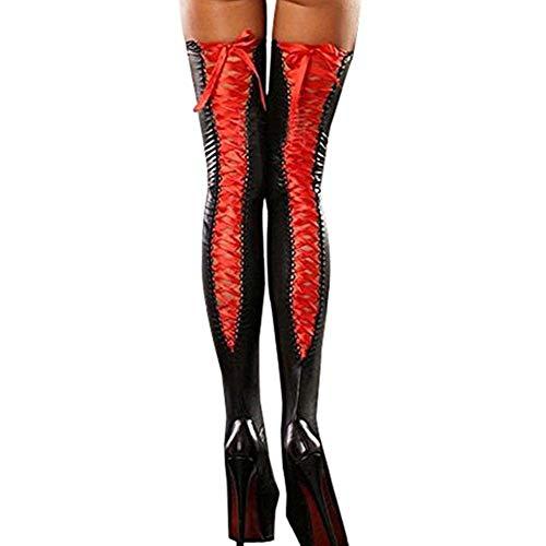 iHENGH Bequem Lässig Mode Sexy Club Women Komfortable Oberschenkelstrümpfe Lederspitze Bow Long Socken RD (Wallet Satin-long)
