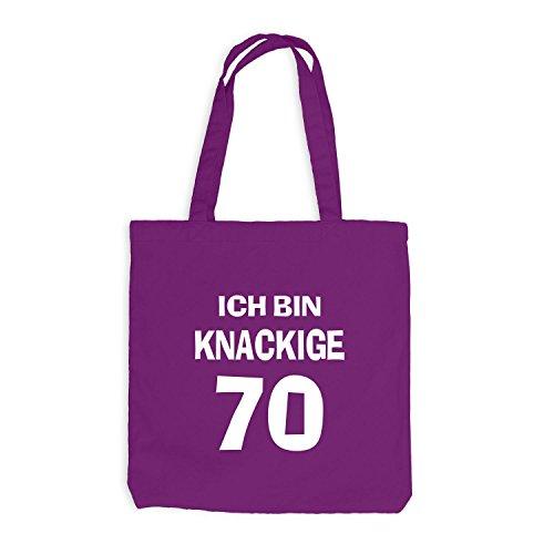 Jutebeutel - Ich bin knackige 70 - Geburtstag Birthday Siebzig Magenta