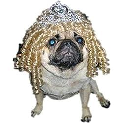 Drasawee suministros de mascota Perro Disfraces Reina estilo mascota perro Pelucas mejor regalo para mascotas