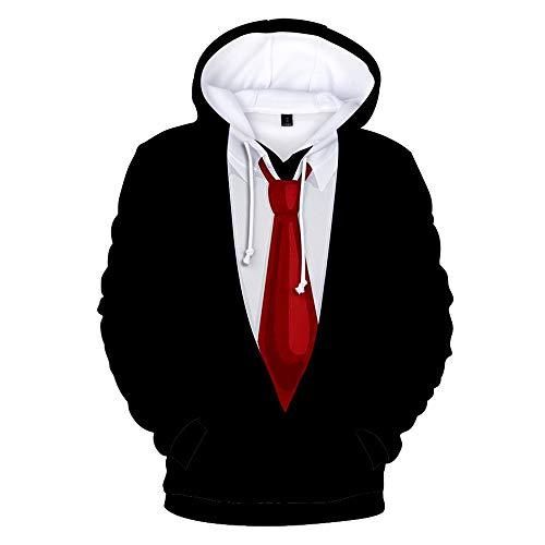 IDEALcos Stilvolle 3D gedruckte Krawatten-Smoking-Klage-Hoodie-Partei-Hochzeits-Sweatshirt-Jacke der Männer (3XL, Schwarz4) -