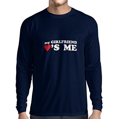 T-Shirt mit Langen Ärmeln Meine Freundin liebt Mich! Freundgeschenke für St. Valentine (Small Blau Weiß)