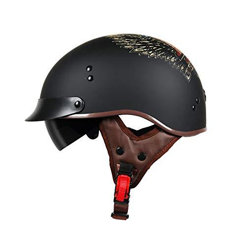 TORC Motorrad Open-Face Halbhelm Mit UV-Schutzbrille Vintage Jet Heavy Cruiser Motorrad-Helm DOT Zertifikat Wings of Liberty Vier Jahreszeiten Unisex,XXL61~62cm