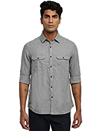RUF & TUF Solid Grey Coloured Cotton Shirt