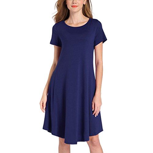 Romacci Damen Jersey Kleid Basic Kleid Mini kleid Rundhals kurze Ärmel Kleider lose T-Shirt-Kleid Dunkelblau