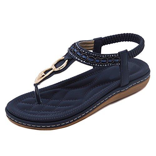 Da donna Scarpe sandalo flip-flop Di Fibbie in metallo Pietre del Strass Bohemia Nero