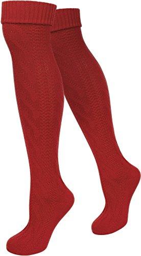 ensocken Trachten Strümpfe für lederhosen Kniebund Socken Natur Farbe Rot Größe 39/42 (Rote Trachten Socken)