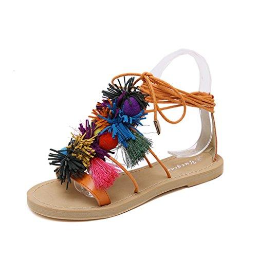 ndals Frauen Sommer Strand Sandalen Mode Quasten Lace Up Schuhe (Farbe : Orange, größe : 38/UK5.5/US6.5/240mm) (Uk National Kostüm Für Kinder)