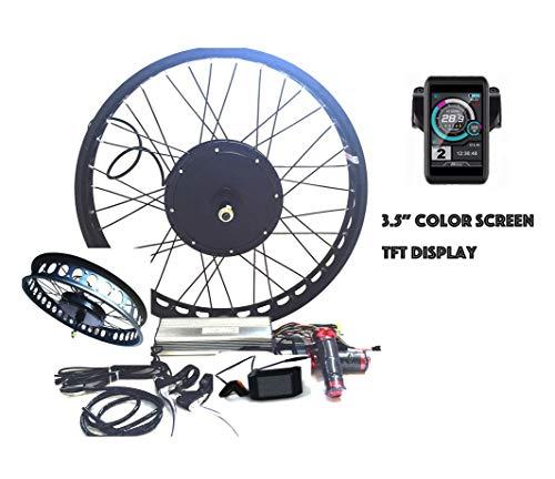 "theebikemotor 3000W Hub Motor Electric Bike Conversion Kit Elektro-Fahrrad Umbausatz + LCD or TFT Display + Disc Brake Rear Wheel (26\"" * 4.0 Fat Wheel + 7 Speed Gear, 72V3000W + TFT Display)"