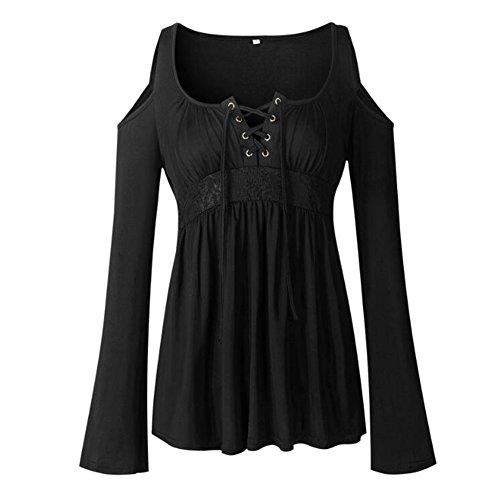 Spalla lunga sexy del manicotto delle donne fuori dalla cucitura della merletta della camicetta della camicetta di cotone Juleya Nero