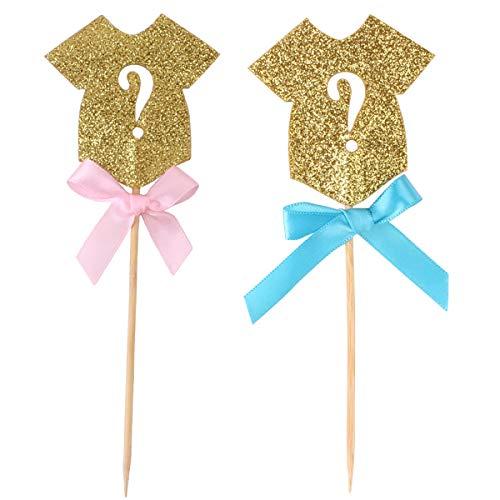 Haokaini 30 stücke Glitter Kuchen Topper, Glitter Cupcake Topper Kuchen Dessert Dekoration Für Baby Shower Gender Reveal Party -
