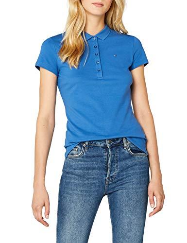 Tommy Hilfiger Damen Poloshirt NEW CHIARA STR PQ POLO SS Blau (Bright Cobalt 381) 40 (Herstellergröße: LG)