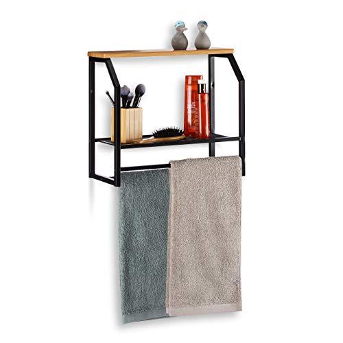 Relaxdays Wandregal mit Handtuchhalter, Regal aus Eisen mit Zwei Ablagen, für Küche oder Bad, HxBxT: 41x45x23cm, schwarz -