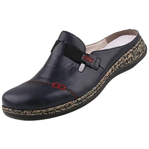 Rieker Damen Clogs Blau, Schuhgröße:EUR 38 -