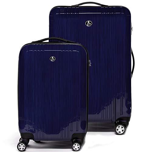 FERGÉ® Kofferset 2-teilig Cannes Handgepäck & Koffer XL 2er Trolley-Hartschalenkoffer Set 4 Rollen (360°) Hartschale blau