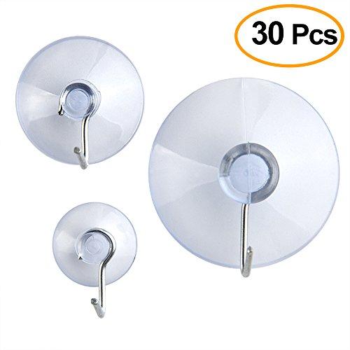 Kuuqa 30 Peices Plastik Saugnapf Sucker Pads mit Haken, 3 Größe 45 mm, 30 mm, 20 mm in einer PP Box (Transparent)