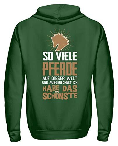 Pferde Shirt · Geschenkidee für Pferde/Reitsport Fans · Pferd Motiv/Spruch Unisex Kapuzenpullover Hoodie -XL-Dunkelgrün