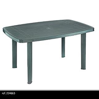 Mesas resina verde. - Medida: 140x90x72 cm. - Color verde. - Ideal para jardin, playa, terraza, patio, balcon, etc.