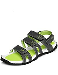 Puma Men's Aripon 3 DP Dark Shadow, Lime Punch And Black Rubber Sandals And Floaters